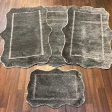 ROMANY WASHABLES GYPSY MATS 4PC SETS NON SLIP SCOLLOP DESIGN CHARCOAL GREY RUGS